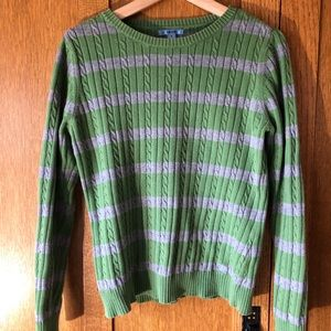 Classic Izod Striped Sweater, M